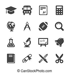 school, vector, opleiding, white., iconen