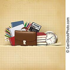 school, vector, oud, back, papier, achtergrond, toebehoren