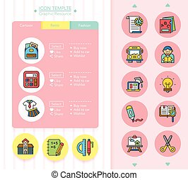 school, vector, set, pictogram