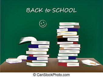 school, velen, bureau, back, tekst, achtergrond, vector, boekjes , illustratie, bord, horizontaal