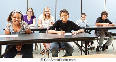 school, verscheidenheid, spandoek, geitjes