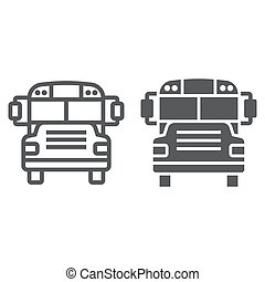 school, vervoer, lineair, bus, eps, meldingsbord, opleiding, pictogram, vector, model, grafiek, 10., lijn, witte achtergrond, glyph