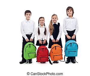 school, vrolijke , schooltassen, -, groep, back, geitjes, concept