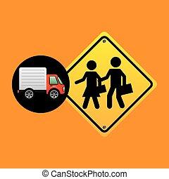 school warning traffic sign concept