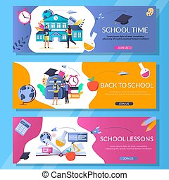 School web banner template set, vector illustration