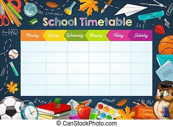 School week schedule timetable, chalk sketch