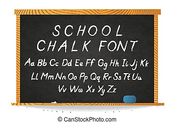 School white chalk hand-drawn cursive font on chalkboard in wooden frame on white