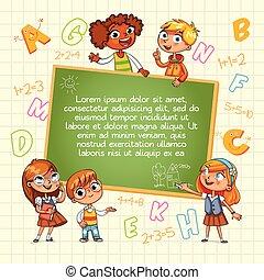 school., wijzende, back, mal, leeg, geitje