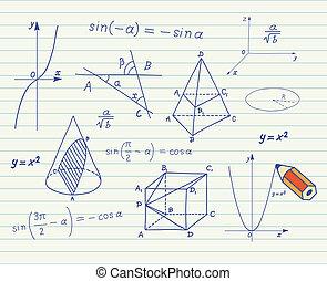 school, wiskunde, schetsen, beer