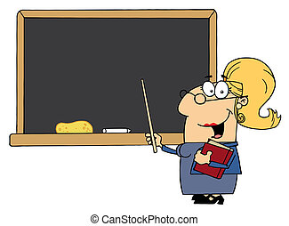 School Woman Teacher With A Pointer Displayed On Chalk Board...