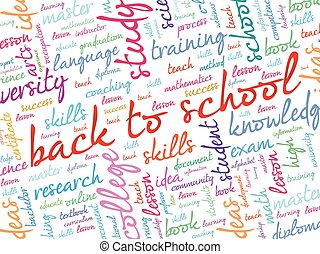 school, woord, back, wolk