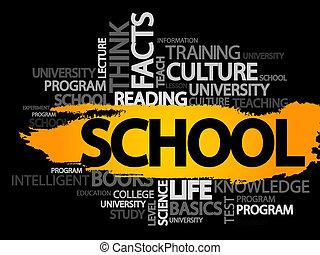 school, woorden, wolk, concept