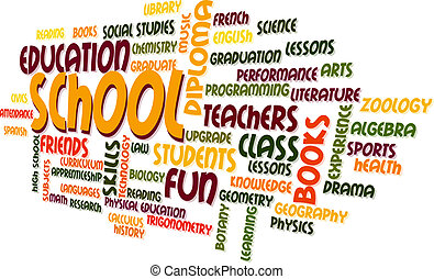 School Word Cloud Bubble Tag Tree Vector