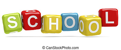 School word concept on cube block isolated
