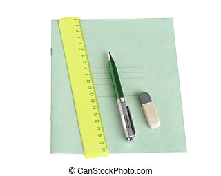 School writing-book, ruler and pen