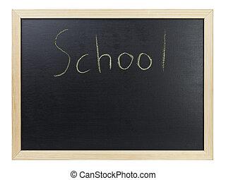 School writing on blackboard