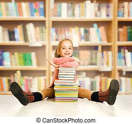 school, zittende , boekjes , weinig; niet zo(veel), opleiding, boek, student, kind, meisje, stapel, geitje