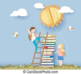 school, zon, back, boekjes , geitjes, kaart