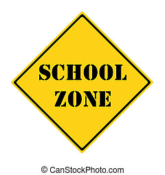School Zone Sign - A yellow and black diamond shaped road...