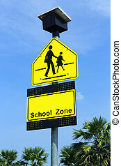 School zone sign, drive slowly and be careful student ...