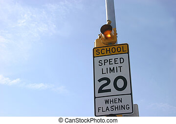 School Zone Vertical - School zone sign vertical with sky