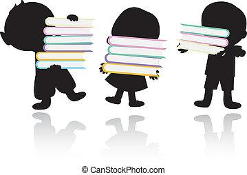 schooland, libri, bambini, fondo, felice