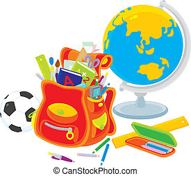Schoolbag, globe, football