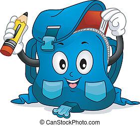 Schoolbag Mascot - Mascot Illustration Featuring a School...