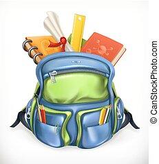 schoolbag., schooltas, met, schoolbenodigdheden, 3d, vector, pictogram