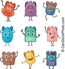 Schoolbags characters with different emotions. Vector illustrations