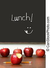 schoolbank, bovenzijde, appeltjes