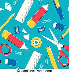 schoolbenodigdheden, of, kantoor, gereedschap, seamless, model