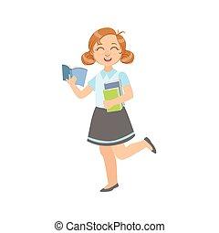 schoolboek, open, meisje, uniform