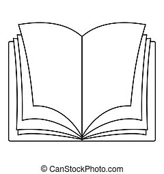 Schoolbook icon, outline style.