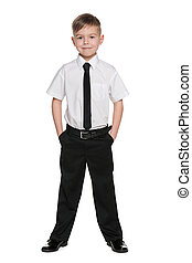 Schoolboy against the white background