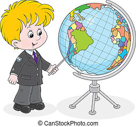 Schoolboy and globe - Elementary school student points to a...