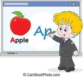 Schoolboy at the interactive whiteb - Elementary school...