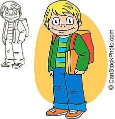 Schoolboy. Coloring book page