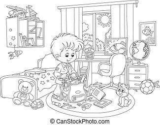 Schoolboy completing his schoolbag - Little boy putting...