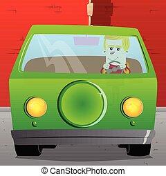 Schoolboy driving. Vector cartoon character illustration.