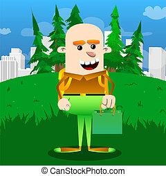 Schoolboy holding a green paper bag.