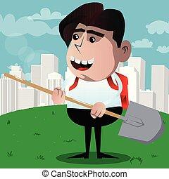 Schoolboy holding a shovel.