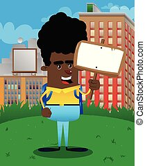 Schoolboy holding blank sign.