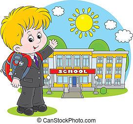 Schoolboy - Elementary school student with a schoolbag...