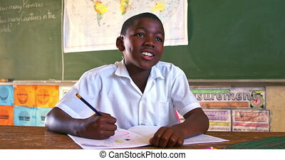 Schoolboy in a lesson at a township school 4k