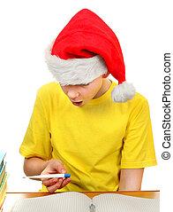 Schoolboy in Santa Hat