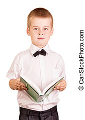 Schoolboy in white shirt with book Isolated