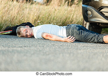 Schoolboy Lying Dead on the Road Due to Accident - Wounded...