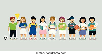 Schoolboy - Male and female students are standing holding a...