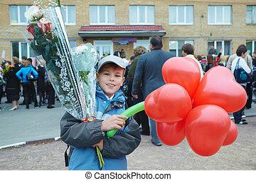 Schoolboy near the school on September 1.